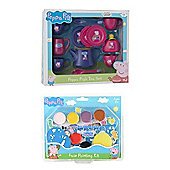 Peppa Pig Bundle - Face Painting Set And Tea Set - 2 Items Supplied