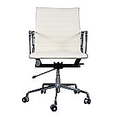 Eames EA117 Inspired Low Back Ribbed Ivory White Leather Office Chair