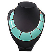 Mint Green Enamel Egyptian Bib Style Choker Necklace In Gold Plating - 38cm Length /7cm Extension