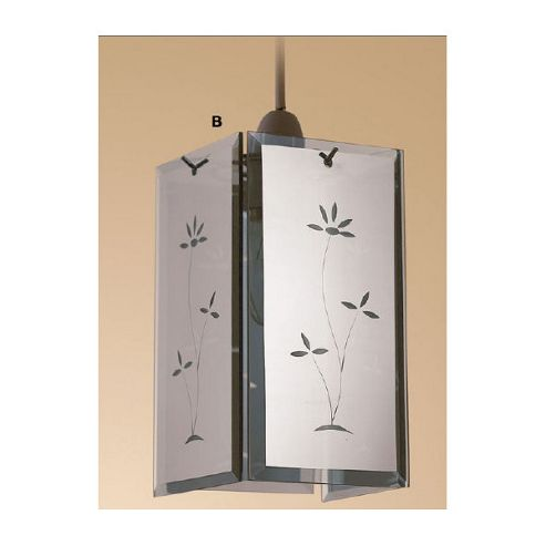 Loxton Lighting Mirror Glass Panel Light Pendant with Glass Panel in Chrome