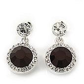Round Black/Clear Crystal Stud Earring In Silver Metal - 2.5cm Drop