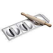 Imperia Italian Large Half Moon Ravioli Tray Six Hole and Rolling Pin