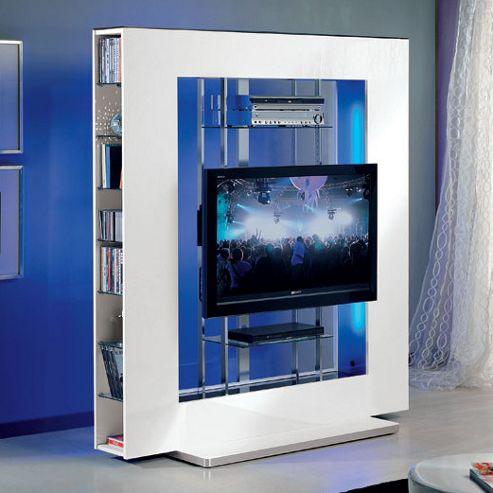 Triskom Metal TV Stand for LCD / Plasmas with Bracket - Black Gloss with Blue Panel Light - 42