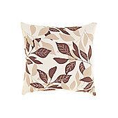 Linea Leaf Design Cotton Cushion, Latte