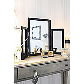 Modern Black Glass Venetian Dressing Table Mirror 1Ft10 X 2Ft7 (54Cm X 77Cm)