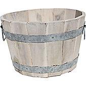 Cadix Acacia Barrel Planter - Whitewash - 32.5cm H x 53cm D