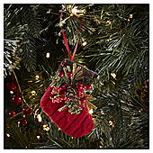 Red Stocking with Foliage Christmas Tree Decoration