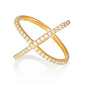 Gold plated ring with pave cross