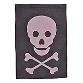 Lorena Canals Skull Dark Grey and Pink Children's Rug - 140 cm W x 200 cm D (4 ft 9 in x 6 ft 6.5 in)