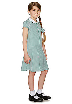 F&F School Girls Gingham Zip Dress with Scrunchie - Green