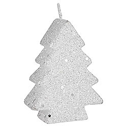 White Glitter Christmas Tree Candle