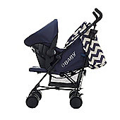 Obaby Zeal Stroller Travel System Bundle - ZigZag Navy