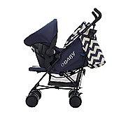 Obaby Zeal Stroller Travel System Bundle - ZigZag Navy