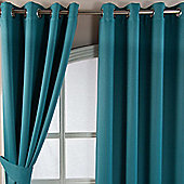 Homescapes Teal Herringbone Chevron Blackout Curtains Pair Eyelet Style, 90x72""