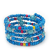 Teen's Light Blue Acrylic Bead Multistrand Bracelet - Adjustable