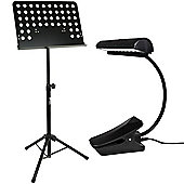 Tiger Black Orchestra Stand & Music Light Pack