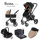 Riviera Plus 3 in 1 Black Travel System - Black / Taupe
