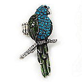 Exotic Turquoise/Green Crystal 'Parrot' Flex Ring In Burnt Silver Plating - 7.5cm Length (Size 7/8)