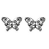 Girl's Silver Butterfly Earrings