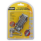 Rolson 7 in 1 Mini Folding Screwdriver with LED
