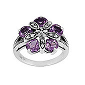 Gemondo Sterling Silver 1.80ct Amethyst & Marcasite Cocktail Ring