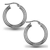 Jewelco London Sterling Silver Polished Hoop Earrings - 3mm