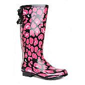 Brantano Bow Back Teen Black & Pink Teen Girls Wellington Boots - Black
