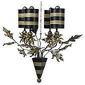 Flambeau Audubon 4 Light Chandelier in Black and Gold
