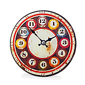 'Wilson' Coloured Glass Wall Clock with Billiard Ball Style Numbers Home Decor