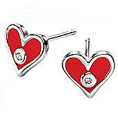 Children's D for Diamond Red Heart Stud Earrings