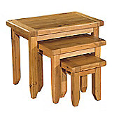Kelburn Furniture Bordeaux 3 Piece Nest of Table Set in Medium Oak Stain and Satin Lacquer