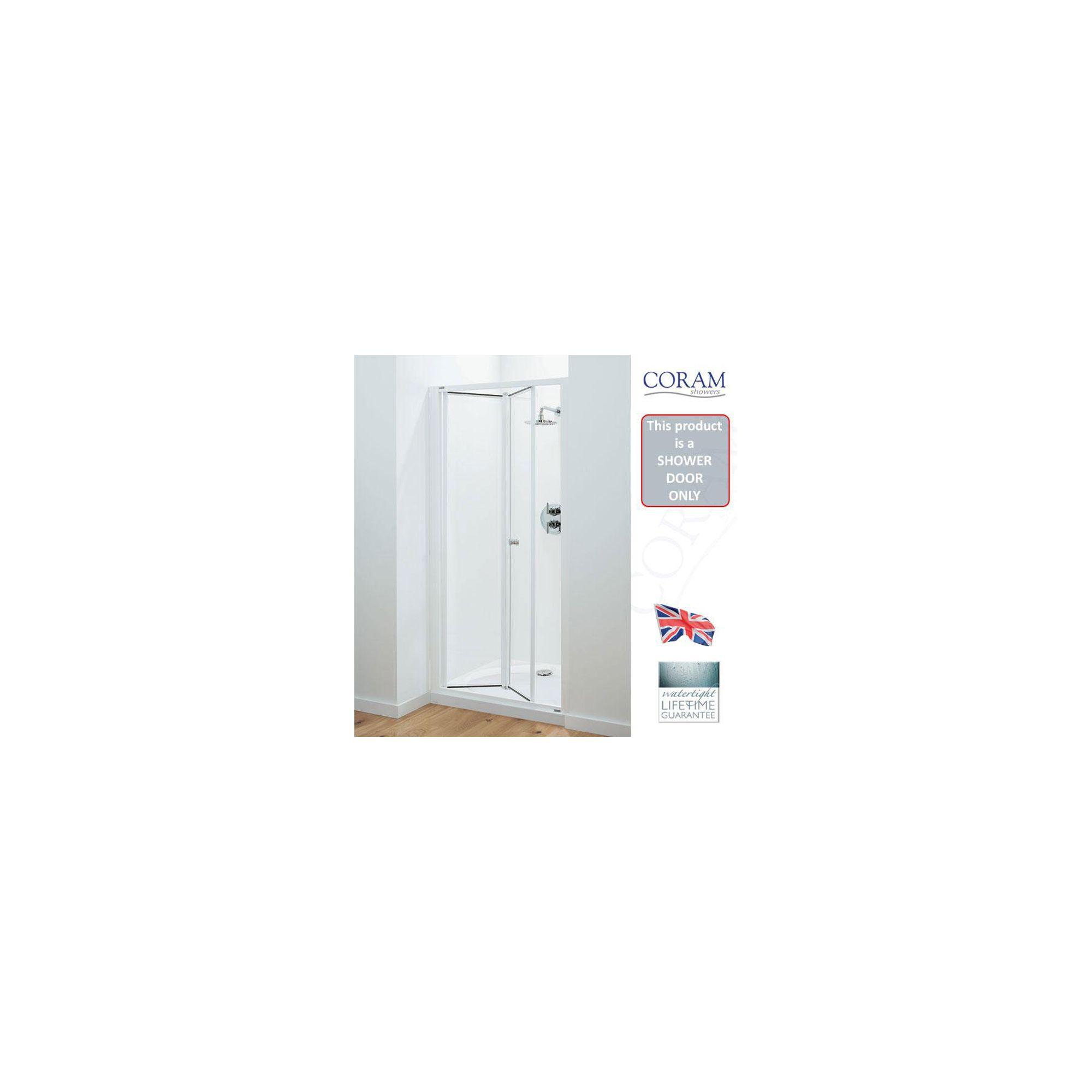 Coram Optima Bi-Fold Shower Door, 760mm Wide, Chrome Frame, 6mm Plain Glass at Tesco Direct