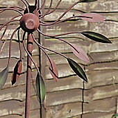 Large Metal Leaf Windspinner on a Stake Garden Ornament