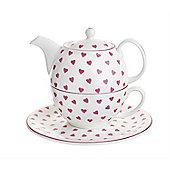 Nina Campbell Tea for One Set, Pink Hearts Design