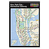 New York Gloss Black Framed Manhattan Subway Map Poster