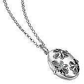 Satin Finish CZ Flower Locket Necklace