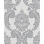 Superfresco Regent Damask Textured Glitter Grey Wallpaper
