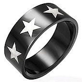 Urban Male Black Finish Stainless Steel 8mm Star Ring For A Man