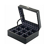 Grosvenor Black Leather 9 Place Cufflink Box Striped interior.