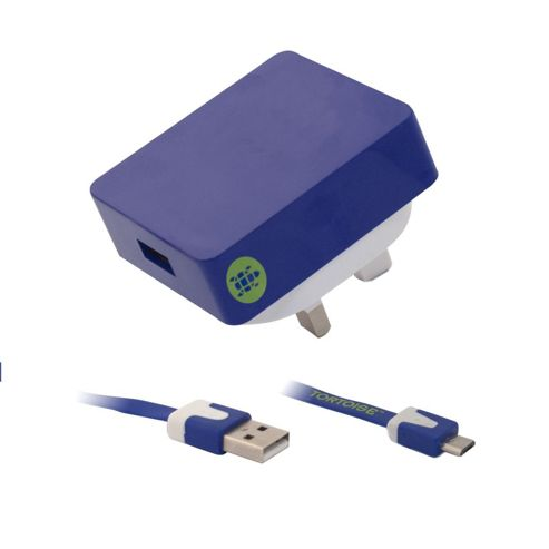 Tortoise™ Look Micro USB Mains Charger Blue