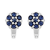 Gemondo Sterling Silver 1.55ct Natural Blue Sapphire & 6pt Diamond Cluster Hoop Earrings