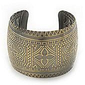 Brushed Gun Metal 'Pilgrim' Silhouette Cuff Bracelet - up to 20cm Length