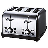Tesco 4 Slice SS colour Toaster - Black