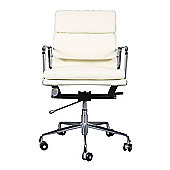 Eames EA217 Inspired Low Back Soft Pad Ivory White Leather Office Chair