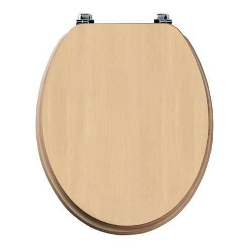 Tavistock Millennium BEECH Wood Veneer Toilet Seat with Chrome Hinges and Non-slip Buffers