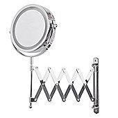 Battery Operated Illuminated LED Magnifying Mirror in Chrome with Extending Bracket