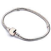Silver Plated Snake Chain Bracelet for Slide on Beads - 18cm