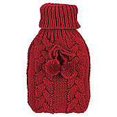 Cable Knit Hot Water Bottle Red