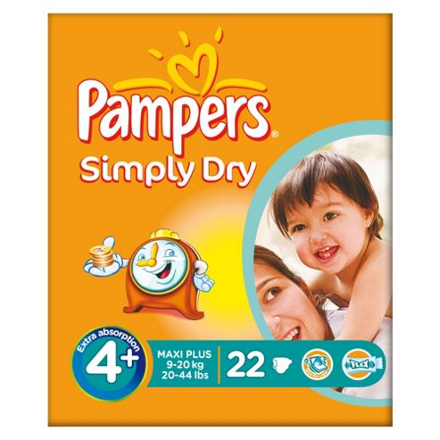 Pampers Simply Dry Size 4+ Carry Pack - 22 nappies