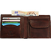 Tony Perotti Italian leather note case wallet with coin section. Brown